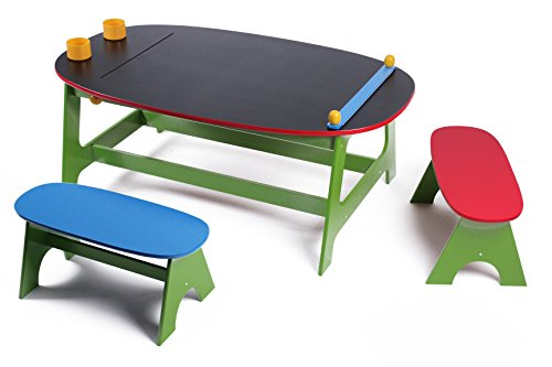 MMP Living Multifunctional Art Table and Activity Play Table with Chalkboard Surface, Paper roll and Storage Cups