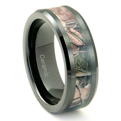 Black Ceramic Men's Hunting Camo Ring, Comfort Fit Band, 8mm Sz 7.0