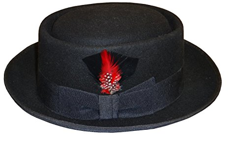 Men's 100% Wool Felt Flat Top Porkpie Pork Pie Fedora Hats W/feather S100 (XL, Black) (Pork Pie Hat)