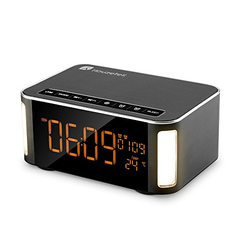 Bluetooth Speaker, Houzetek Portable Wireless Speaker Multimedia Touch HiFi V4.2 Bluetooth Speaker Technology with Temperature, Calendar, Alarm Clock for Outdoor/Indoor