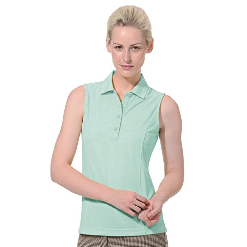 Monterey Club Ladies Dry Swing Solid Lightweight Pique Sleeveless Polo #2064 (Beach Glass, X-Large)