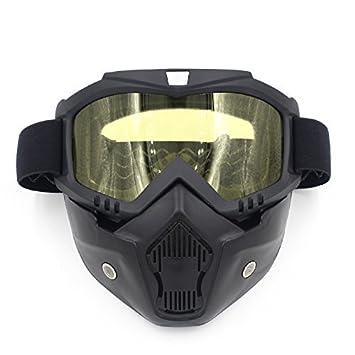 LiDiwee Gafas de Moto con Máscara Desmontable, Máscara de Gafas de Seguridad Airsoft Protección UV400