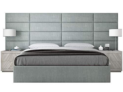 VANT Upholstered Headboards - Accent Wall Panels - Packs of 4 - Textured Cotton Weave Ash Gray - 30