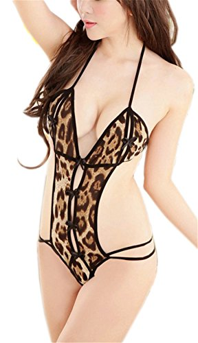 AnVei-Nao Women Sexy Lingerie Crotchless Leopard Babydoll Thongs Nightwear (Leopard Babydoll And Thong)