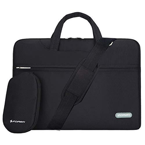 YOUPECK Water Repellent 13-13.3 Inch Laptop Shoulder Bag Compatible MacBook Air Pro 13, Ultrabook Chromebook, Polyester Protective Messenger Briefcase Men Women Carrying Handbag Sleeve Case, Black