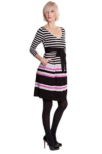 Olian Striped Empire Maternity Dress - Black/Pink Stripe - X-Small