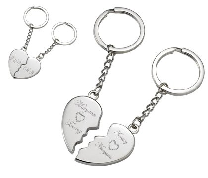5010f34a3992 Amazon.com   Personalized Silver Magnetic Broken Heart Keychain Engraved  Free   Key Tags And Chains   Office Products
