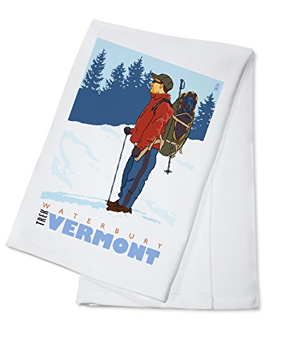 Waterbury Towel - Snow Hiker - Waterbury, Vermont (100% Cotton Kitchen Towel)