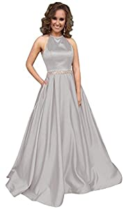 Andybridal Elegant A Line Halter Beaded Satin Long Prom Formal Party Evening Dress