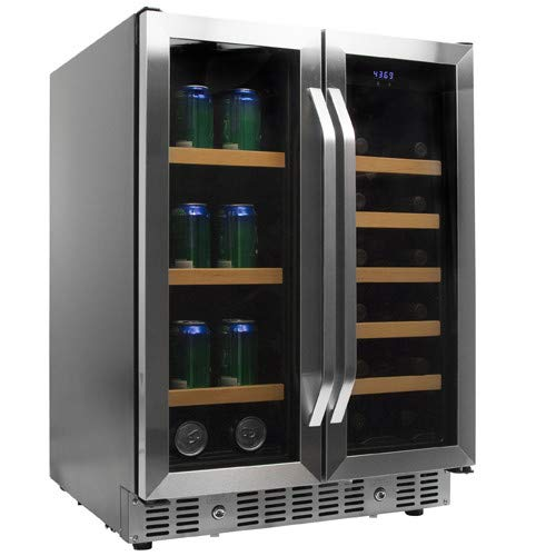 EdgeStar CWB1760FD 24 Inch Built-In Wine and Beverage Cooler with French Doors (Wood Edgestar Racks)