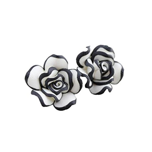 Clearance Deal! Hot Sale! Earring, Fitfulvan 2018 Elegant Cute Women Lady Girls Black White Rose Flower Stud Earrings (White) (Flower Circular Necklace)