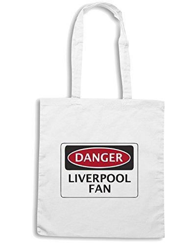 T-Shirtshock - Bolsa para la compra WC0299 DANGER LIVERPOOL FAN, FOOTBALL FUNNY FAKE SAFETY SIGN Blanco