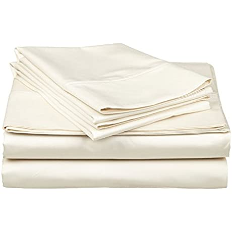 Gotcha Covered Luxe Collection 618TC Combed Cotton Sateen Split California King Sheet Set Ivory