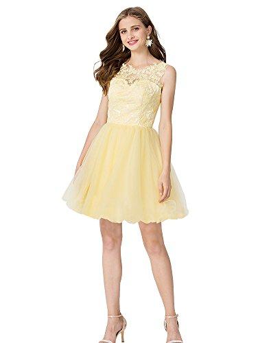Tüll Applikationen Erosebridal Plissee Brautjungfer Kurz Kleid mit Spitze vTwqEOaw