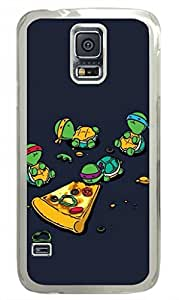 E-luckiycase PC Hard Shell Teenage Mutant Ninja Turtles TMNT Eating Pizza Transparent Edges Skin for Samsung Galaxy S5 Case