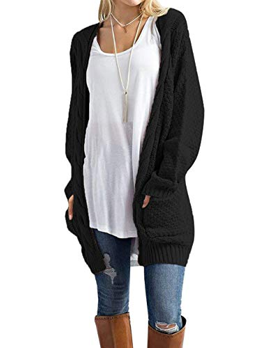 Traleubie Women's Loose Casual Long Sleeved Open Front Breathable Cardigans Sweater with Pocket Black L ()