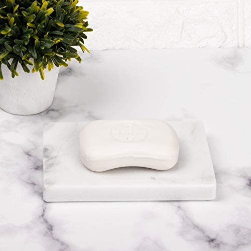 (FRESCORR - White Marble Soap Dish - Polished and Shiny Marble Dish Holder Beautifully Crafted Bathroom Accessory)