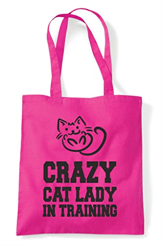 Shopper Cute Bag Fuschia Funny Training In Tote Lady Crazy Animal Cat Themed nOIqzIUPv