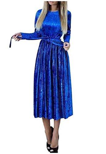 In Azzurro A Girocollo Vita Accetta Di Pieghe Metà Coolred Vestito Velluto Allacciatura donne 7xwnqY8