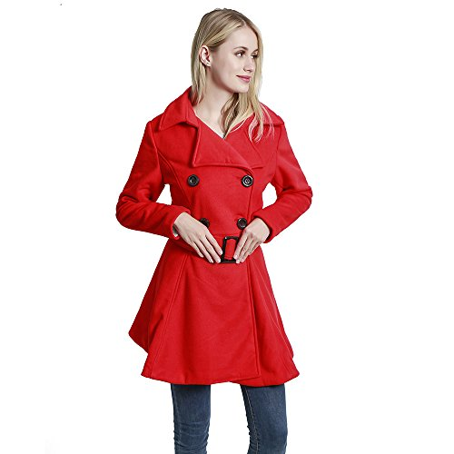 (KENGURU COVE Women's Wool Coat Casual Double-Breasted Jacket with Belts Trench Outwear(Red,L)