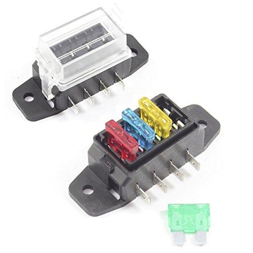 Fuse Box 4 Way for Standard Blade Fuses ATO Holder//Block 12v or 24v Car//HGV