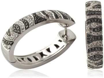 Black and White Diamond Hoop Earrings 1.00 ct tw in 10K White Gold