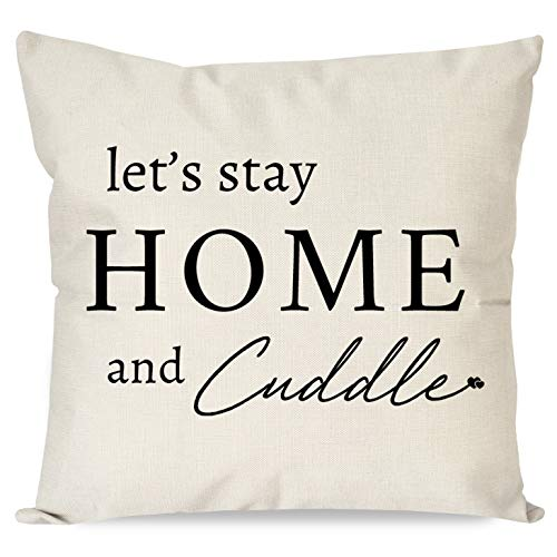 PANDICORN Modern Farmhouse Pillow Covers for Home Décor, Rustic Black and Off White/Cream Throw Pillow Cases with Words Let's Stay Home and Cuddle for Couch, 18x18 Inch