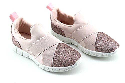 Modelisa - Zapatillas Elasticas Purpurina Mujer Rosa