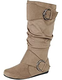 Women's Closed Round Toe Buckle Slouch Flat Heel Mid-Calf Boot
