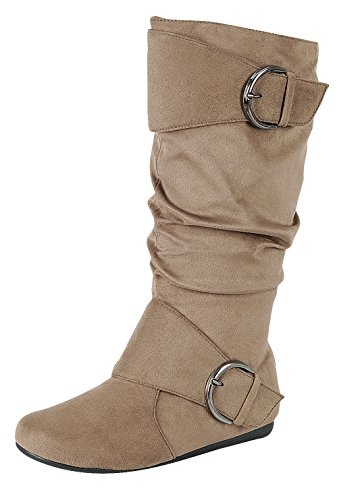 Forever Link Womens Closed Round Toe Buckle Slouch Flat Heel Mid-Calf Boot,Taupe, -