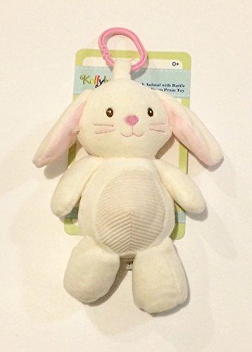 Kellybaby Plush Ivory Bunny with Rattle Clip-on Pram Toy - Ivory Bunny