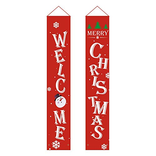 WISREMT Welcome Merry Christmas Banner for Home, Xmas Holiday Porch Sign for Indoor Outdoor Front Door Patio Home Wall Hanging Decorations (Ship from USA)