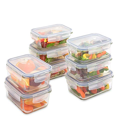 UberChef Professional Glass Meal Prep Container, 8-Pack Large Lunch Box containers with leak resistant BPA Free lids, Perfect meal prep containers for adults and kids, simple food prep containers