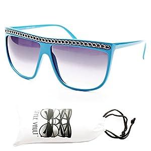 W108-vp Wayfarer Retro 80s Celebrity Chained Chain Sunglasses (ct9037 blue/silver, UV400)