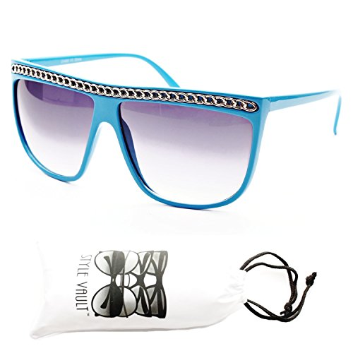 W108-vp Wayfarer Retro 80s Celebrity Chained Chain Sunglasses (ct9037 blue/silver, UV400)