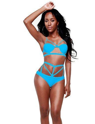 ZQ de la mujer Halter Bikinis, High Rise/sólido/vendaje push-up/sujetador con aros/sujetador Padless poliéster/Spandex Blanco/Azul/Naranja/Negro, orange-l, medium white-m