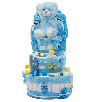 Tarta de pañales DODOT y Neceser Johnsons baby 3 pisos niño: Amazon ...