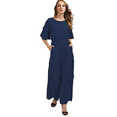 4db329592d0 Stylation Rayon Navy Ruffle Sleeves Jumpsuit  Amazon.in  Clothing    Accessories