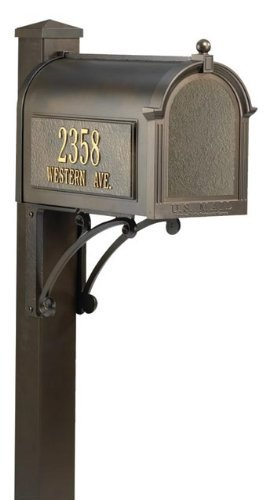 Whitehall Premium Mailbox Package (Whitehall Products 16306 Superior Mailbox Package, French Bronze)