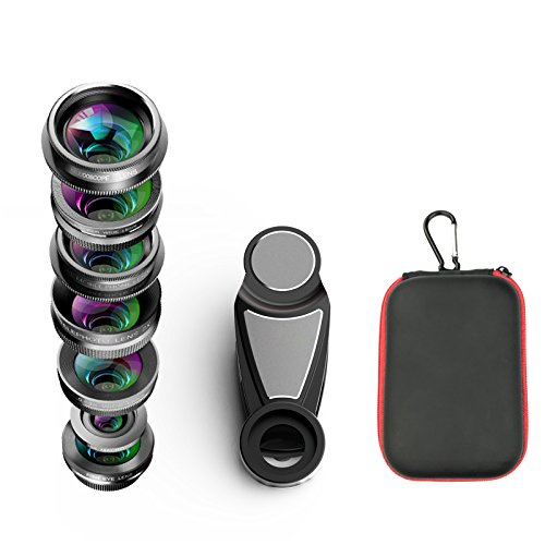 Phone Camera Lens Kit, 8 in 1 Zoom Universal Telephoto Lens+198° Fisheye lens + 0.36 Super Wide Angle Lens + 0.63X Wide Lens + 15X Macro Lens + CPL Polarizer + Kaleidoscope Lens + Clamp by DAREN (Image #5)