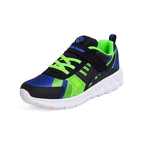 DREAM PAIRS Boys KD18002K Lightweight Breathable Running Athletic Sneakers Shoes Black Royal Blue Green, Size 2 M US Little Kid