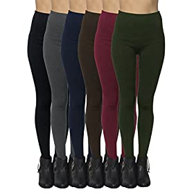 6-Pack: Women's Free to Live Seamless Fleece Lined Leggings – One Size 41ruOZX9SuL