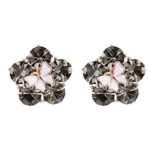 Yoursfs Clip On Flower Earrings with Black Crystal Stones Earring Clips for Non Pierced Ears