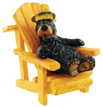 Racoon Hat Bear Sitting in Adirondack Chair Collectible Figurine, 3-inch (Random -