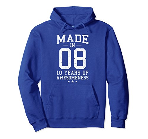 Unisex Made In 2008 Ten Years Of Awesomeness 10th Birthday Hoodie Small Royal Blue 2008 Kids Hoodie
