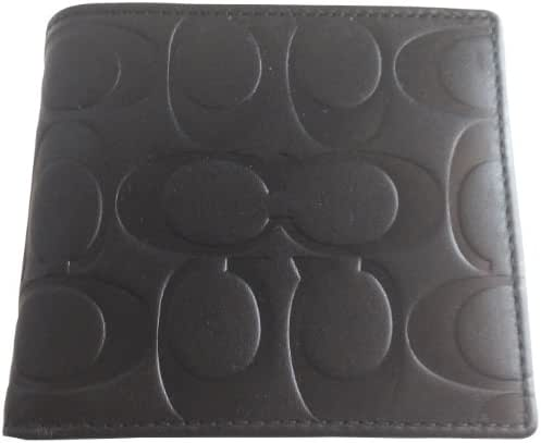 Coach Black Embossed Double Billfold Bifold Mens Coin Wallet 74531