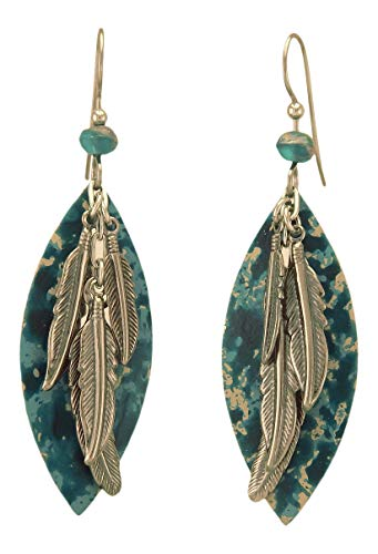 - Silver Forest Large Open Football Shape, Silver Tone Feathers, Drop Style Earrings