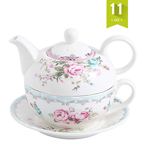 (Malacasa Tea For One Porcelain Teapot 11 oz and Cup Set, 6.7 inch Teapot with Lid 5.5 inch cup 8.4 oz and 6 inch Saucer, Blue & Pink - Series Sweet Time)