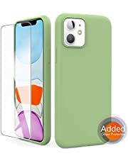 "AhaStyle Silicone Case Soft Liquid Silicone Slim Rubber Protective Case Cover [Added Screen Protector] Compatible with iPhone 11 (2019) (iPhone 11 6.1"", Avocado Green)"