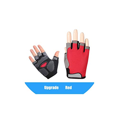 Summer Women Men Fitness Gloves Gym Weightlifting Cycling Yoga Bodybuilding Training Thin Breathable Non-Slip Half Finger Gloves,Red 2,S